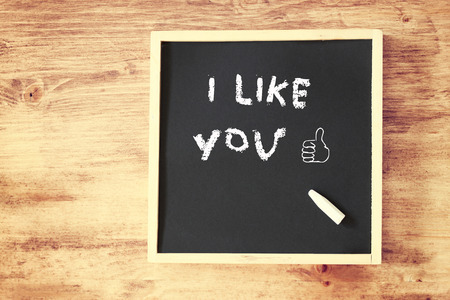 i like you concept with chalkboard and like doodle    photo