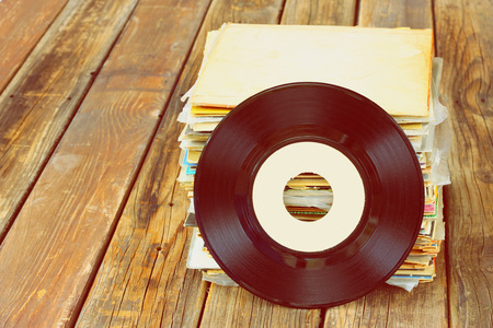 60 70: close up of old record and records stack    Stock Photo