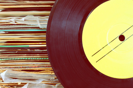 close up of old record and records stack    Stock Photo