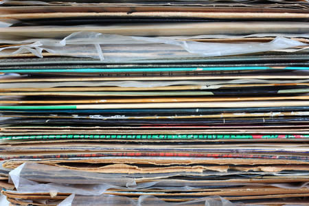 close up of records stack