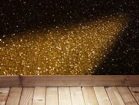 golden bokeh background and wood planks   photo