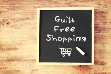 not give: guilt free shopping concept   Stock Photo