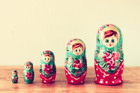 matryoshka doll: set of matrioshka dolls  retro filter
