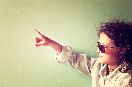 child wearing retro sunglasses  filtered image   photo