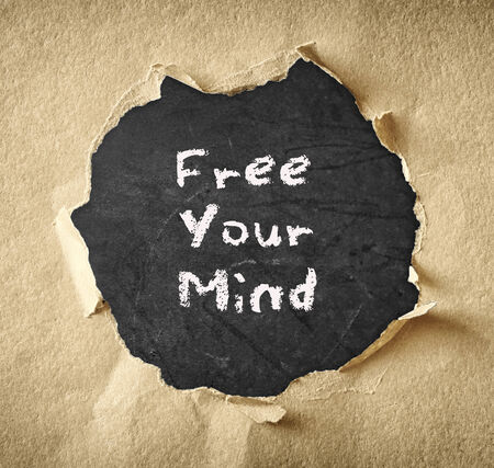 free your mind: blackboard with the phrase free your mind