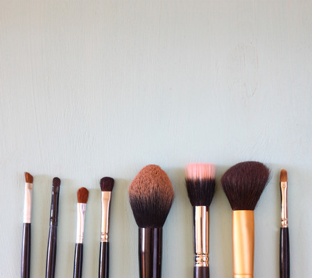 make up brush: top view of make up set  room for text