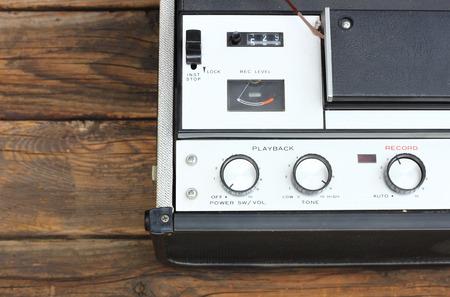 flauta dulce: Cerca de la vieja bobina a bobina imagen filtrada máquina de grabación
