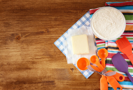 kitchen table top: top view of baking ingredients  Stock Photo