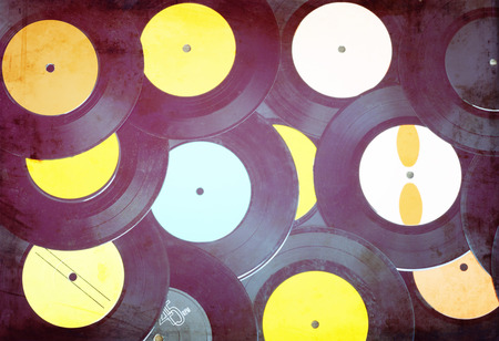 top view of many records photo
