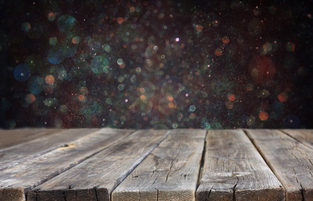 rustic wooden boards and bokeh lights background  ready for product display    photo