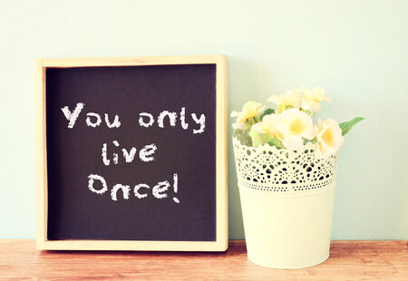 once: blackboard with the phrase you only live once written on it  concept for risk taking and enjoying life