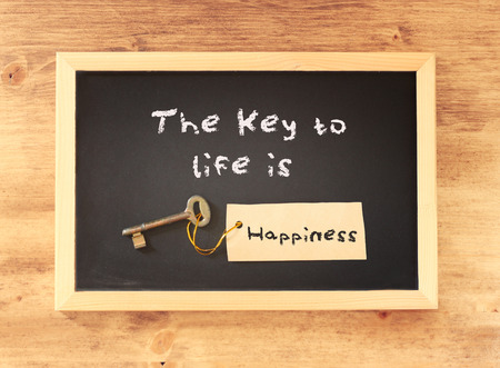 phrase: the phrase the key to life is happiness written on blackboard