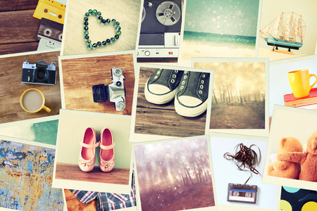 photo montage: Mosaic with pictures of different objects  cillage with retro effect