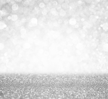 silver and white bokeh lights defocused  abstract background photo