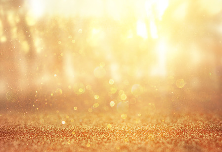 abstract photo of light burst among trees and glitter bokeh lights  filtered image and textured  image is blurred  Stock Photo