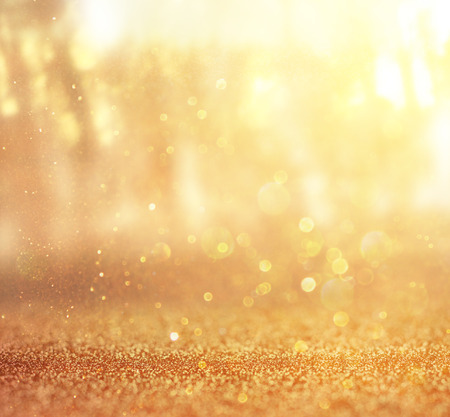among: abstract photo of light burst among trees and glitter bokeh lights  filtered image and textured  image is blurred  Stock Photo