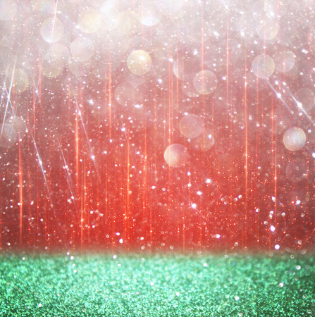 background of red and green bokeh lights. christmas concept photo