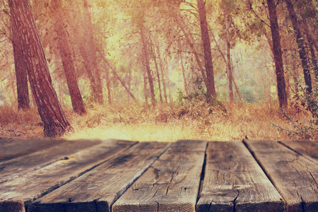 image: image of front rustic wood boards and background of trees in forest. image is retro toned