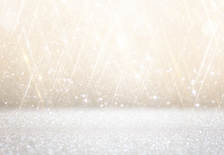feliz navidad: white and silver abstract bokeh lights. defocused background Stock Photo