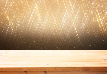 wooden deck and bokeh light background for product display photo