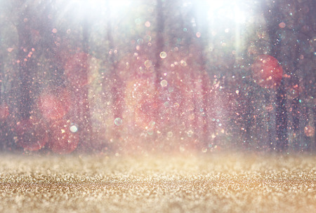 blurred abstract photo of light burst among trees and glitter bokeh lights. filtered image and textured.
