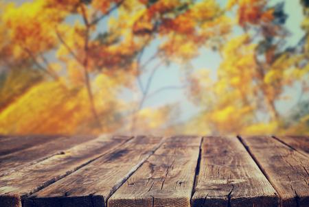 imagem de placas de madeira rústica de frente e fundo de folhas de outono