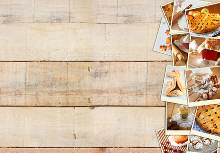 Homemade baking collage with cookies, fresh bread, apple pie and muffins over wooden background. photo