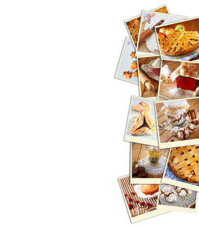 Homemade baking collage with cookies, fresh bread, apple pie and muffins photo
