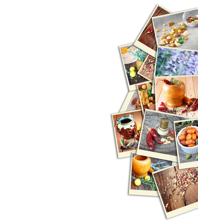 Images with a variety of different spices and spice grinder. collage photo
