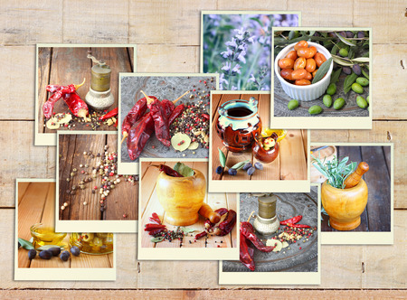 Images with a variety of different spices and spice grinder. collage on wooden background photo