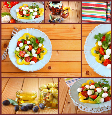 sallad: Images with a variety of salad with mozzarella and fresh vegetab