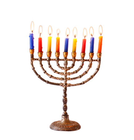 jewish holiday Hanukkah background with menorah Burning candles isolated on white Stock Photo