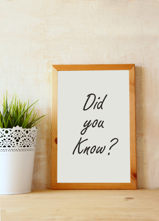 did you know: white drawing board with the question\\\\\\\ did you know\\\\\\\ written on it against rustic textured wall