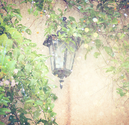 parget: Antique Victorian Outdoor Wall Lamp surrounded by green leaves. filtered image. glitter lights background