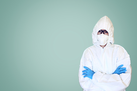 protective suit: Lab scientist in safety suit