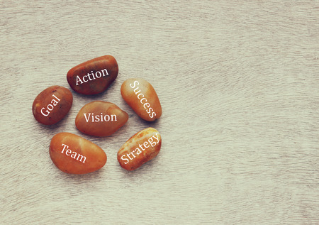 mangement: river stones with text over wooden background. strategy, success , goal, team concept