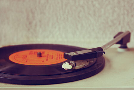 indie: image of old record player, image is retro filtered . selective focus Stock Photo