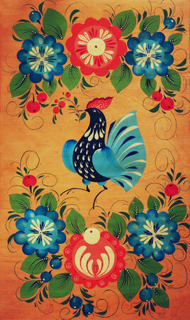 folk tales: Traditional russian decorative wooden board. Painting with floral and peacock ornament