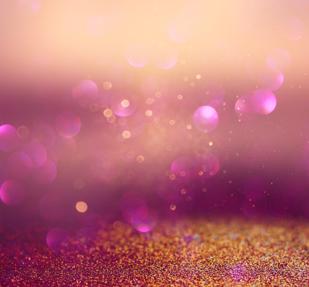 romance image: blurred abstract brown and purple bokeh lights and textures. image is defocused Stock Photo