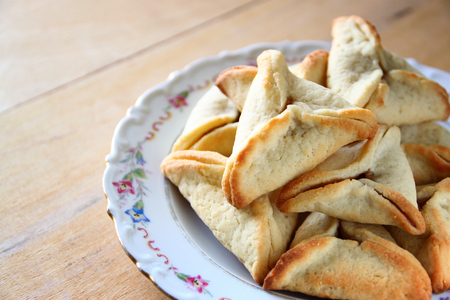 hamantasch: Hamantaschen cookies or hamans ears for Purim celebration (jewish holiday)