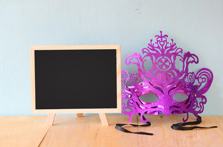 megillah: Mask and blackboard, room for text Stock Photo