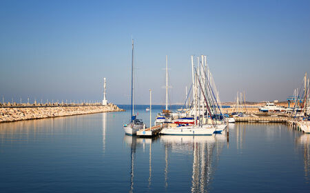 romantic marina with yachts photo