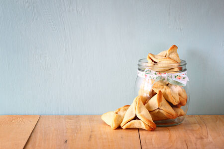 hamantasch: Hamantaschen cookies or hamans ears Purim celebration (jewish holiday).