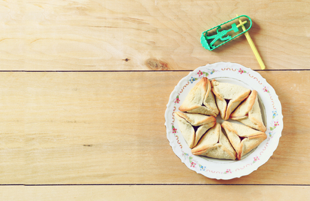hamantasch: top view of Hamantaschen cookies or hamans ears for Purim celebration (jewish holiday) Stock Photo