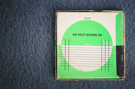 transparence: top view of old retro sound recording box with room for text. filtered image