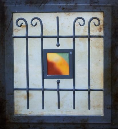 ornamentation: vintage metal art ornamentation window. filtered image