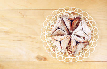 haman: top view of Hamantaschen cookies or hamans ears for Purim celebration (jewish holiday) Stock Photo