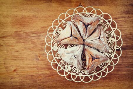 hamantaschen: top view of Hamantaschen cookies or hamans ears for Purim celebration (jewish holiday) Stock Photo