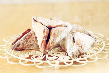 haman: Hamantaschen cookies or hamans ears Purim celebration (jewish holiday) Stock Photo