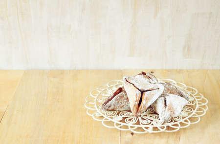 jewish holiday: Hamantaschen cookies or hamans ears Purim celebration (jewish holiday) Stock Photo